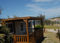 Mobile homes with wooden veranda
